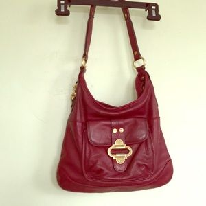 B Makowsky cherry red leather shoulder / hand bag